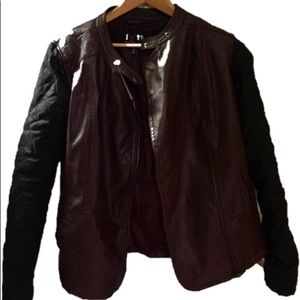 Jackets & Blazers - Faux leather jacket, Martin brownish and black.